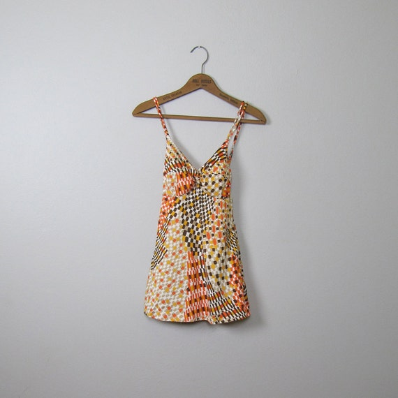 Vintage 1970s Skirted One Piece Swimsuit (X Small Small)