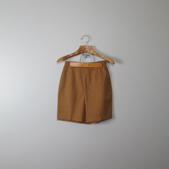 ON HOLD- Please do not purchase- SALE 20% off Use Code: havelove20 at checkout// Vintage 1960s Light Brown/Beige High Waist Shorts (Medium)