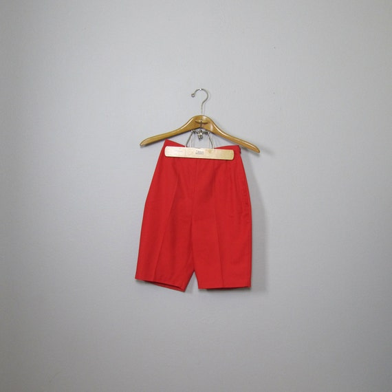 Vintage 1960s 1970s High Waist Bermuda Shorts in Bright Red Permaprest Fabric (Small)