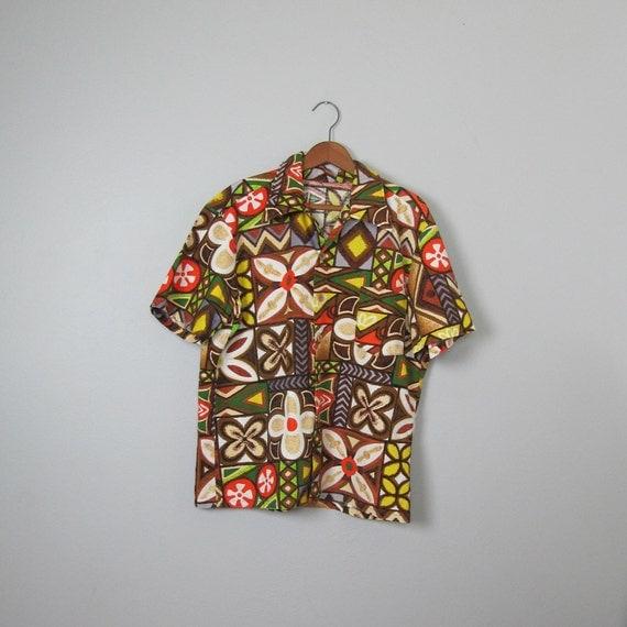 Vintage 1960s Barkcloth Hawaiian Aloha Shirt (Large XL)