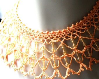Mango Orange Crochet Lace Beaded Necklace Lacy Collar