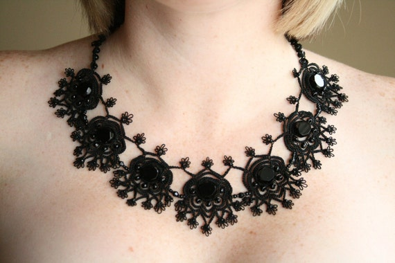 Black Tatted Necklace Beaded Fiber Earring Set