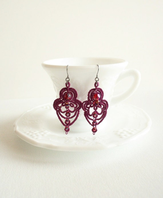 Plum Tuckered Out and Time for Tea Tatted Earrings