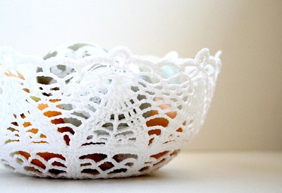 White Crocheted Lacy Sturdy Bowl