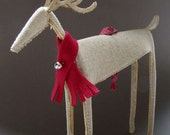 Cozy Linen Reindeer with Red Felt Scarf Ornament - Object