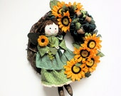 "St. Patricks Day Sale /Fall Angel Wreath with Large Yellow Sunflowers  (Large Approx. 24""X18"" )"