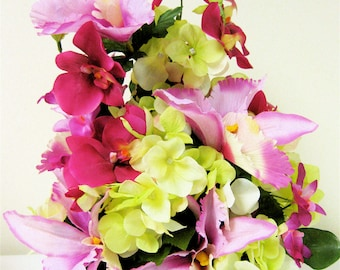SALE  Spring Silk Floral Arrangement Tropical Mixed Pink Fuchsia Orchids Lime Green Hydrangea