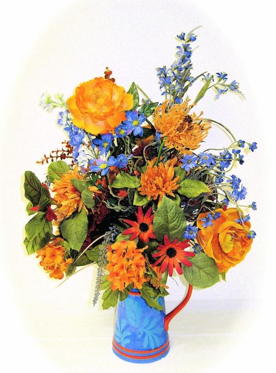 """Spring Silk Wildflower Arrangement  Silk Orange and Blue Approx. (24""""tall X 16""""wide)"""