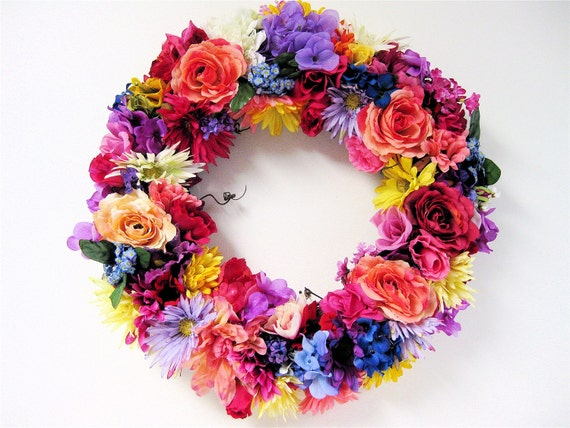 "Spring/Summer Wreath Spring Mix Silk Floral Wreath(Large 27"" X 7"" Deep)"
