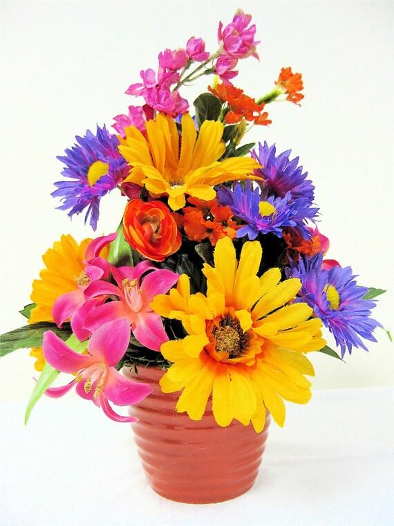 "SALE Spring Floral Arrangement Summer Floral Centerpiece  Hot Pink, Yellow, Purple, and Orange Silk Floral Arrangement 12"" X 10"""