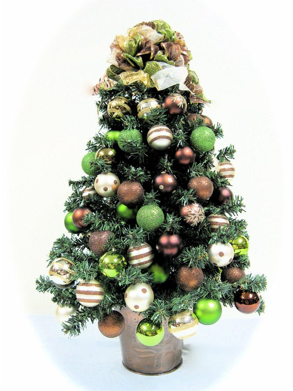 Christmas Tree Table Top Bronze Brown Lime Green And Ivory