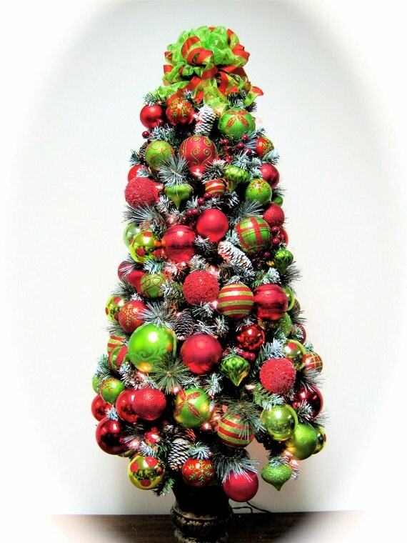 """RESERVED FOR VICKI Christmas Tree Bright Red and Lime Green Predecorated and Prelit Table Top Christmas Tree (4'6"""" h X 2' w)"""