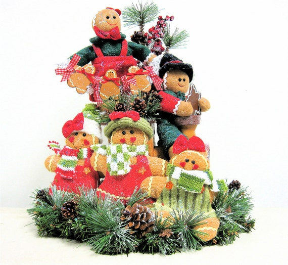 Gingerbread Family on Train Large Centerpiece/Arrangement Pine Holiday