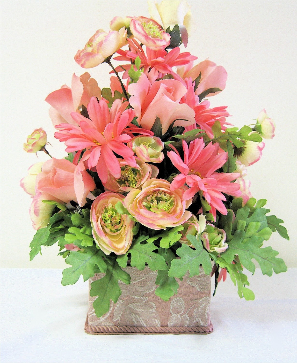 Victorian Silk Floral Arrangement Large Pink And Lime Green