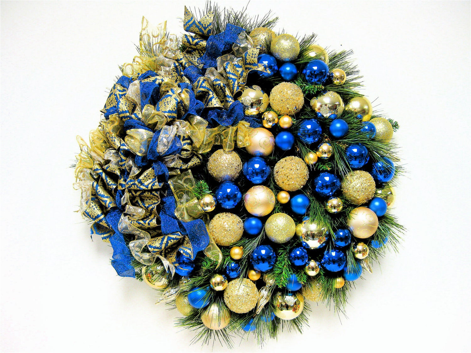 Christmas wreath sapphire blue and gold holiday wreath for Blue and gold christmas