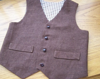 Chocolate Brown Linen Vest for Baby Boy or Toddler Boy (also in Khaki)