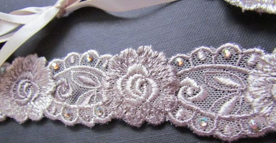Floral Lace Headband with Rhinestones