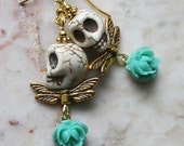 Day of the Dead Dia de los Muertos Frida Kahlo Señorita Mexican Green Flower Golden Angel Turquoise Skull Dangle Party  Earrings
