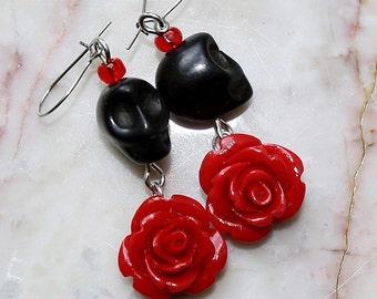 Day of the Dead Dia de los Muertos Frida Señorita Red Rose Black Skull Dangle Hypoallergenic Earrings