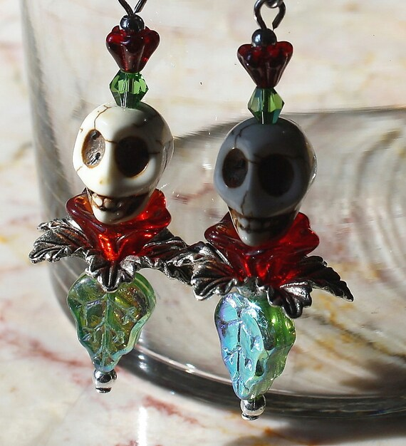 Day of the Dead Frida Kahlo Red Bloom Leaf Flower  Dia de los Muertos Original Art Skull Earrings