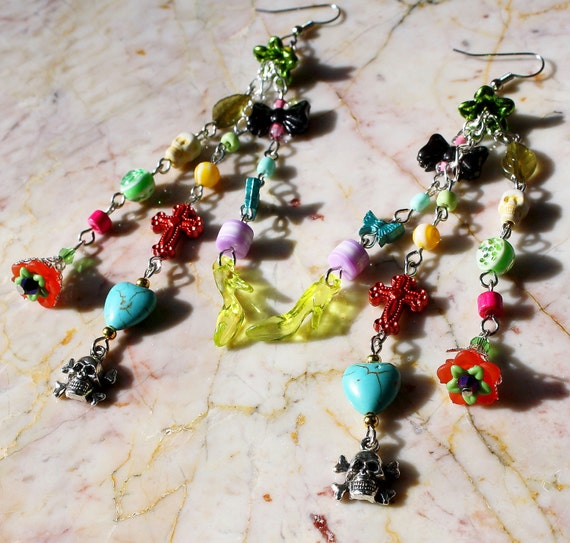 Day of the Dead Frida Kahlo Skull Heart butterfly and Shoe Flower Dangle Long Chain Earrings EXGALABUR