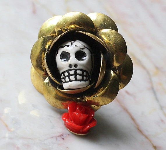 Day of the Dead Frida Kahlo Original Flower head Muertos Ceramic Sugar Skull & Red Rose Golden Adjustable Ring Atlanta Jewelry