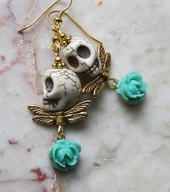 Day of the Dead Dia de los Muertos Frida Kahlo Señorita Mexican Green Flower Golden Angel Turquoise Skull Dangle Party  Earrings