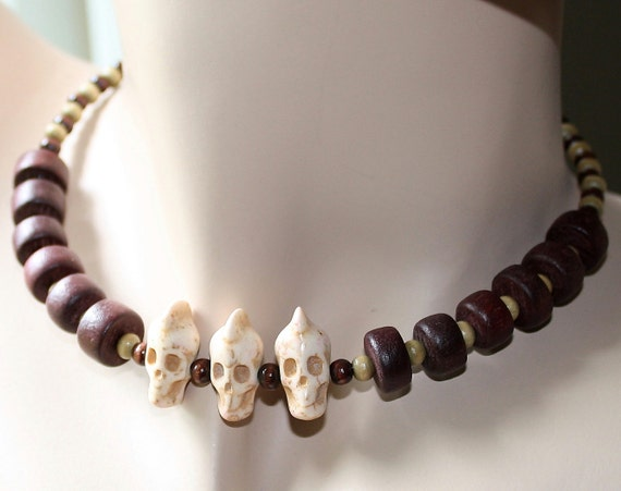 Tribal Turquoise Skulls Wood Boho Ethnic 2012 Mayan Skull Wrap Necklace