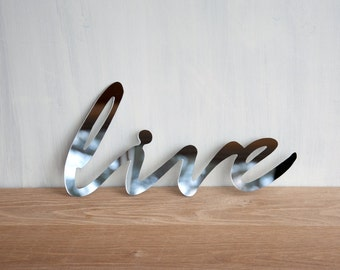 Wall Decor Mirror Word 'Live' - signage, wall art, typography, handwriting