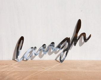 Mirror Word Sign 'Laugh' - wall decor, wall art, signage, typography, handwriting