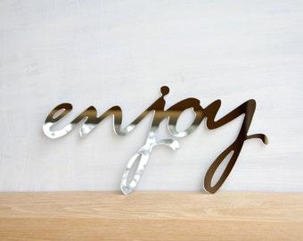 Word Sign Enjoy, Mirror Words, Enjoy Mirror Sign, Mirror Wall Decor, Mirror Wall Art, Word Sign, Enjoy Wall Sign, Wall Decor Word