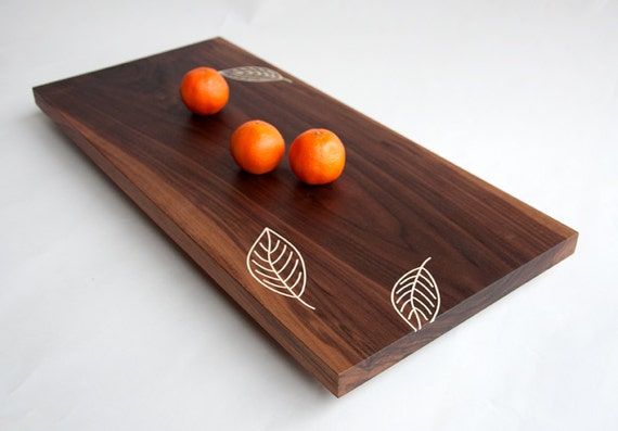 Modern Walnut Tray/Serving Platter - Inlaid Leaves, Fruit and Cheese Platter, Handcrafted Modern, Food Safe Tray