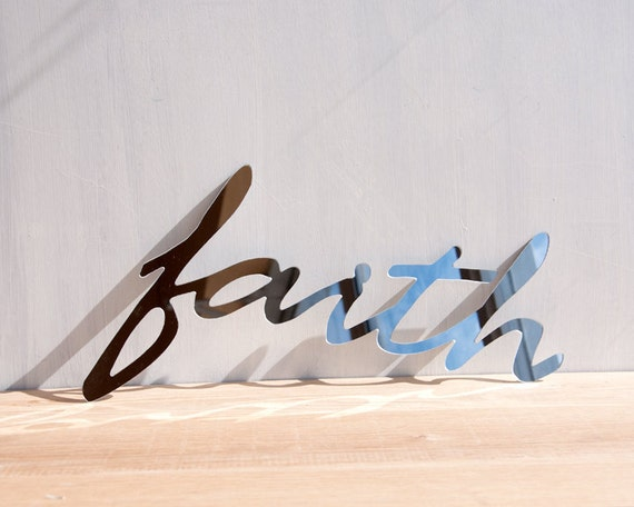 Mirror Wall Decor Word Sign 'Faith' - signage, wall art, typography, handwriting