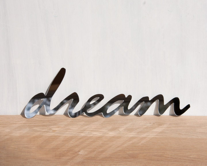 Wall decor mirror word 39 dream 39 signage by studioliscious for Decoration word