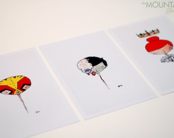 Little Floating Head Print Set - The Queen, The Wrestler, The Zombie