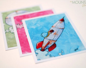 Prototype Aircraft Print Set - Rocket, Helicopter, Air Balloon