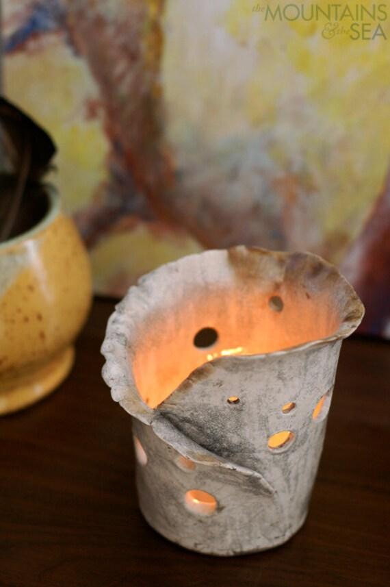 The Crackle Lantern - White Crackle Raku Candle Holder