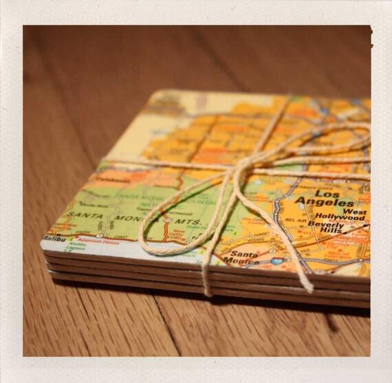 reclaimed map coasters / custom square