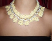 easter sale Handmade Crocheted yellow wood and white beads metal necklace
