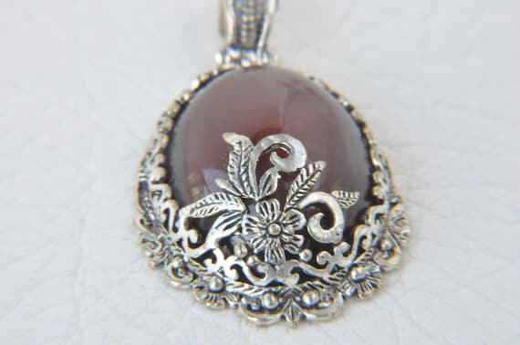 brown agate silver pendant jewelry making materials