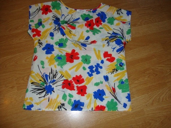 "Floral Print 80'S Shirt ""Alicia"""