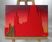Dusk is Falling over Edinburgh Town: Sweet Canvas Painting of Scotty Dog on Princes St at Sunset, Edinburgh, Scotland