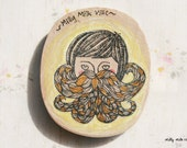 Wooden Magnet Oval - Hand Painted Illustration - Mr.Papochi