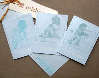 """Letterpress note card, """"Celebrate"""" or """"Dream"""""""