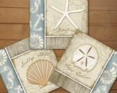 Coastal Seashells Collection - 6x6 Art Prints Set of 3 -Coastal Home Decor -Blue, Cream, White, Tan