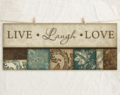 Live Laugh Love 8x18 Art Print -Inspirational Wall Decor -Family Values -Decorative Leaf Border -Teal, Tan, Brown