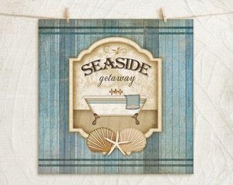 Seaside Getaway 12x12 Print Nautical Bathroom Wall Decor Claw Foot Tub Vintage