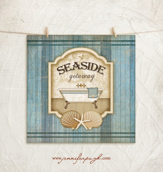 Nautical Bathroom Wall Decor : Seaside getaway print nautical bathroom wall decor