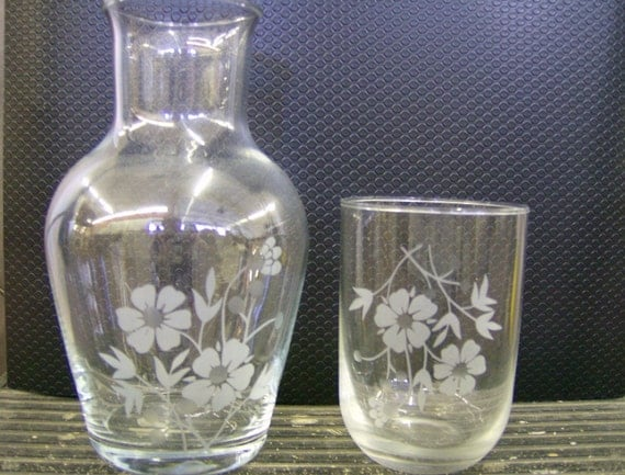 CT0426V Lovely Guest Bedside Water Pitcher & Glass Floral Etching
