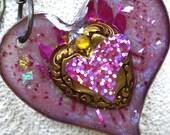 Sacred Heart Necklace - suncatcher - love original art - SALE Free Shipping